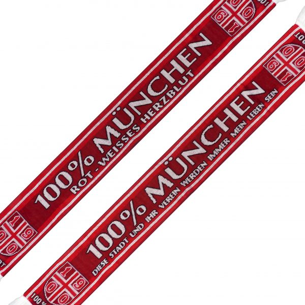 """100 % München"""" Schal Der 100 % München Schal ist ein Jaquardschal mit zwei verschiedenen rot-Tönen und 1900er Wappen an den Schalenden. Text Seite 1: 100% München - rot-weisses Herzblut. Text Seite 2: 100% München - diese Stadt und ihr Verein werden immer mein Leben sein. Material: 100% Acryl Dieser Schal war bisher nur an unserem Fanshop im U-Bahnhof Fröttmaning bei Heimspielen des FC Bayern München erhältlich. Ab jetzt gibt es diesen Schal für Euch auch in unserem Online-Shop. Wenn Ihr diesen Schal bestellen solltet, haltet ihn (sowie auch Euere anderen roten Fanartikel) immer in Ehren! Dieser Schal ist mit viel Leidenschaft und Herzblut von unserem Fan-Point Team entworfen worden und hält von seiner Qualität her ewig. Einige von uns sind schon seit 1972 oder länger dabei, andere noch nicht so lange, oder einige erst relativ neu, aber alle sind rot bis unters Dach. Die ersten eigenen Fanartikel stellten wir damals im Olympiastadion her und 1994 haben wir dann unseren ersten Verkaufsstand am Oly gehabt. Für uns gilt es also wirklich """"rot und weiss - ein Leben lang"""". Wir versuchen ständig zusammen mit unseren Produzenten die Qualität und die Designs zu verbessern. Das herstellen von rot-weissen Fanartikeln ist für uns nicht einfach ein Beruf, """"nein"""" es ist eine Berufung und unsere größte Freude ist es, wenn sie Euch gefallen. Und hier noch eine kleine Info zu der Bezeichnung """"Jaquardschal"""", denn man sollte ja auch wissen was man da umhängen hat. Der Jaquardschal ist ein gewebter Schal. Seinen Namen hat er von einem Herrn namens, Joseh-Marie Jaguard, dem Erfinder des Jaquardwebstuhls mit dem sich Endlosmuster mit Hilfe einer Lochkartensteuerung herstellen liesen. Das Prinzip hat sich bis heute nicht verändert und die Lochkartensteuerung ist der Digitaltechnik gewichen. So tragen millionen Fußballfans auf der ganzen Welt, Woche für Woche ihre wunderschönen """" Jauardschals """". (Am allerschönsten sind diese Schals aber noch immer, wenn sie rot-weiss sind und München drauf"""
