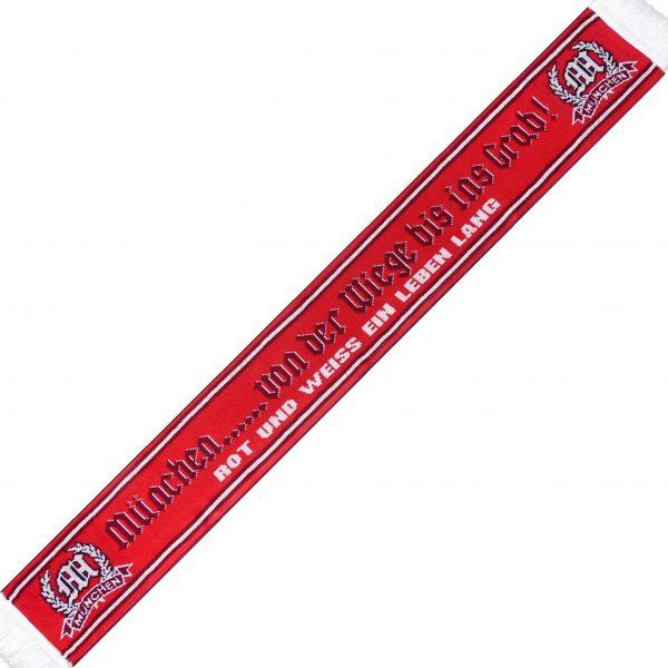 """Kultschal """"Von der Wiege bis ins Grab"""" ein echter Kultschal in zwei verschiedenen rot-Tönen und dem Text """"München - Von der Wiege bis ins Grab - rot und weiss ein Leben lang"""" Jaquardschal, Material 100% Akryl. Dieser Kultschal war bisher nur an unserem Fanshop im U-Bahnhof Fröttmaning bei Heimspielen des FC Bayern München erhältlich. Ab jetzt gibt es diesen Schal für Euch auch in unserem Online-Shop. Wenn Ihr diesen Schal bestellen solltet, haltet ihn (sowie auch Euere anderen roten Fanartikel) immer in Ehren! Dieser Schal ist mit viel Leidenschaft und Herzblut von unserem Fan-Point Team entworfen worden und hält von seiner Qualität her ewig. Einige von uns sind schon seit 1972 oder länger dabei, andere noch nicht so lange, oder manche erst relativ neu, aber alle sind rot bis unters Dach. Die ersten eigenen Fanartikel stellten wir damals im Olympiastadion her und 1994 haben wir dann unseren ersten Verkaufsstand am Oly gehabt. Für uns gilt es also wirklich """"rot und weiss - ein Leben lang"""". Wir versuchen ständig zusammen mit unseren Produzenten die Qualität und die Designs zu verbessern. Das herstellen von rotweissen Fanartikeln für uns nicht einfach ein Beruf, nein es ist eine Berufung und unsere größte Freude ist, wenn sie Euch gefallen. Zum Kultschal """"Von der Wiege .... Und hier noch eine kleine Info zu der Bezeichnung """"Jaquardschal"""", denn man sollte ja auch wissen was man da umhängen hat. Der Jaquardschal ist ein gewebter Schal. Seinen Namen hat er von einem Herrn namens, Joseh-Marie Jaguard, dem Erfinder des Jaquardwebstuhls mit dem sich Endlosmuster mit Hilfe einer Lochkartensteuerung herstellen liesen. Das Prinzip hat sich bis heute nicht verändert und die Lochkartensteuerung ist der Digitaltechnik gewichen. So tragen millionen Fußballfans auf der ganzen Welt, Woche für Woche ihre wunderschönen """"Jauardschals"""". (Am allerschönsten sind diese Schals aber noch immer, wenn sie rot-weiss sind und München draufsteht!)"""