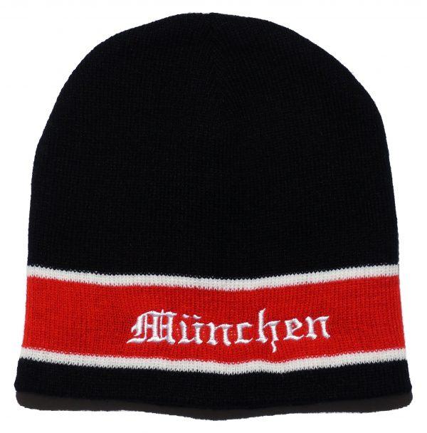 Mütze München schwarz - rot mit Stickerei