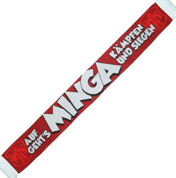 """Minga Schal """" Auf geh´s Minga """" Der neue Minga Schal ist ein echter Hinkucker unter den Jaquardschals ! Die Grundfarbe ist dunkelrot , an jedem Schalende ist waggerecht in hellrot ein Kindl eingestrickt . Der Text """"AUFGEHT`S MINGA KÄMPFEN UND SIEGEN """" ist in weiss mit einer schwarzen Outline und wirkt wie darübergelegt . Material: 100% Acryl Dieser Schal war bisher nur an unserem Fanshop im U-Bahnhof Fröttmaning bei Heimspielen des FC Bayern München erhältlich. Ab jetzt gibt es diesen Schal für Euch auch in unserem Online-Shop. Wenn Ihr diesen Schal bestellen solltet, haltet ihn (sowie auch Euere anderen roten Fanartikel) immer in Ehren! Dieser Schal ist mit viel Leidenschaft und Herzblut von unserem Fan-Point Team entworfen worden und hält von seiner Qualität her ewig. Einige von uns sind schon seit 1972 oder länger dabei, andere noch nicht so lange, oder manche erst relativ neu, aber alle sind rot bis unters Dach. Die ersten eigenen Fanartikel stellten wir damals im Olympiastadion her und 1994 haben wir dann unseren ersten Verkaufsstand am Oly gehabt. Für uns gilt es also wirklich """"rot und weiss - ein Leben lang"""". Wir versuchen ständig zusammen mit unseren Produzenten die Qualität und die Designs zu verbessern. Das herstellen von rot-weissen Fanartikeln für uns nicht einfach ein Beruf, """"nein"""" es ist eine Berufung und unsere größte Freude ist wenn sie Euch gefallen. Und hier noch eine kleine Info zu der Bezeichnung """"Jaquardschal"""", denn man sollte ja auch wissen, was man da umhängen hat. Der Jaquardschal ist ein gewebter Schal. Seinen Namen hat er von einem Herrn namens, Joseh-Marie Jaguard, dem Erfinder des Jaquardwebstuhls mit dem sich Endlosmuster mit Hilfe einer Lochkartensteuerung herstellen liesen. Das Prinzip hat sich bis heute nicht verändert und die Lochkartensteuerung ist der Digitaltechnik gewichen. So tragen millionen Fußballfans auf der ganzen Welt, Woche für Woche ihre wunderschönen """"Jaquardschals"""". (Am allerschönsten sind diese Schals aber noch immer,"""