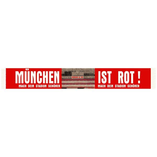 MÜNCHEN IST ROT - SEIDENSCHAL Der München ist rot -Seidenschal ist ein bedruckter Poyesterschal mit einem Foto schönen Foto in der Mitte .