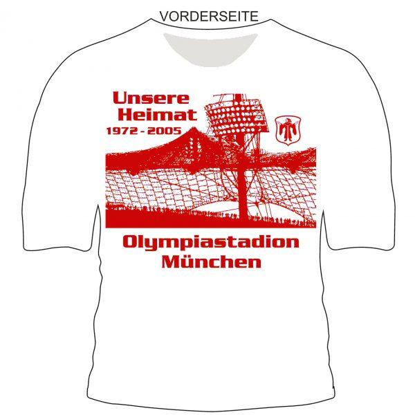 """Traditions -T-Shirt """"Olympiastadion """" Mit dem Traditions-T-Shirt """" Olympiastadion 1972-2005 """" wollen wir die vielen schönen und spannenden Momente , die vielen tollen Spiele und die wahnsinns Emotionen die wir dort alle erlebt haben , ein Stück unvergessener machen . Das T-Shirt ist weiss mit rotem Aufdruck . Material 100% Cotton/Baumwolle"""