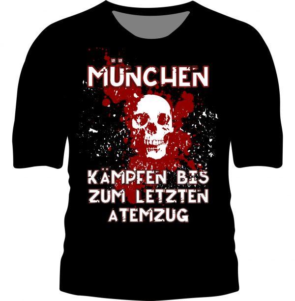 """München T-Shirt """" KÄMPFEN BIS ZUM LETZTEN ATEMZUG"""" Des neue München T-Shirt """" Kämpfen bis zum letzten Atemzug"""" ist schwarz mit rot weißem Aufdruck .Was echt selten ist , das T-Shirt sieht in """"echt""""noch besser aus, alls auf dem Bild ! Material T-Shirt """" Kämpfen bis zum letzten Atemzug """" : 100 % Cotton/Baumwolle Dieses München T-Shirt war bisher nur an unserem Fanshop im U-Bahnhof Fröttmaning bei Heimspielen des FC Bayern München erhältlich. Ab jetzt gibt es diesen München Fanartikel für Euch auch in unserem Online-Shop. Wenn Ihr dieses T-Shirt bestellen solltet, haltet es (sowie auch Euere anderen roten Fansachen) immer in Ehren! Dieser Fanartikel ist mit viel Leidenschaft und Herzblut von unserem Fan-Point Team entworfen worden und hält von seiner Qualität her ewig. Einige von uns sind schon seit 1972 oder länger dabei, andere noch nicht so lange, oder manche erst relativ neu, aber alle sind rot bis unters Dach. Die ersten eigenen Fanartikel stellten wir damals im Olympiastadion her und 1994 haben wir dann unseren ersten Verkaufsstand am Oly gehabt. Für uns gilt es allso wirklich """"rot und weiss – ein Leben lang"""". Wir versuchen ständig zusammen mit unseren Produzenten die Qualität und die Designs zu verbessern. Das herstellen von rot-weissen Fanartikeln für uns nicht einfach ein Beruf, """"nein"""" es ist eine Berufung und unsere größte Freude ist, wenn sie Euch gefallen. Euer Fan Point Team"""