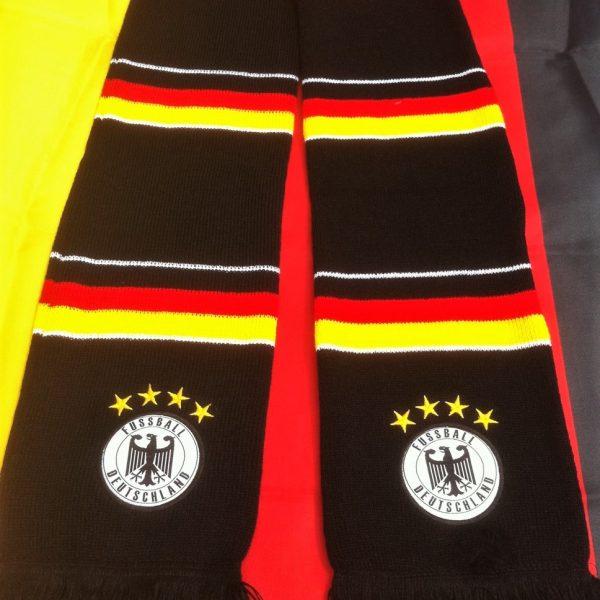NEU - Bestickter Balkenschal Deutschland vier Sterne schwarz