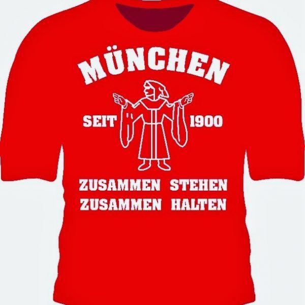 Shirt MÜNCHEN ZUSAMMEN STEHEN - ZUSAMMEN HALTEN seit 1900 Das neue T-Shirt MÜNCHEN ZUSAMMEN STEHEN - ZUSAMMEN HALTEN seit 1900 ist rot mit weißem Aufdruck. Bedingungsloser Zusammenhalt war und ist eine unserer größten Stärken, das passende T-Shirt dazu bekommt Ihr nun in unserem Online Fanshop. Mareial : 100% Cotton / Baumwolle