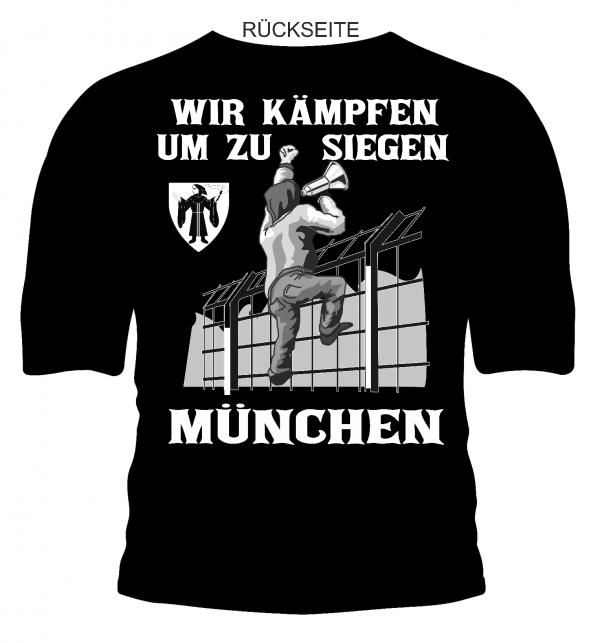"""T-Shirt """"München - Wir kämpfen um zu siegen"""" München T-Shirt """"Wir kämpfen um zu siegen"""" in schwarz. Für alle die mal etws besonderes wollen. Rückseite: München - wir kämpfen um zu siegen >>> und einer richtig geilen Grafik. Material: 100 % Cotton/Baumwolle"""