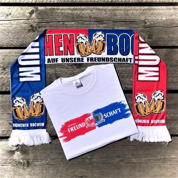München-Bochum Seidenschal+T-Shirt Kombination *2 , Bayern Bochum Fanfreundschaftd