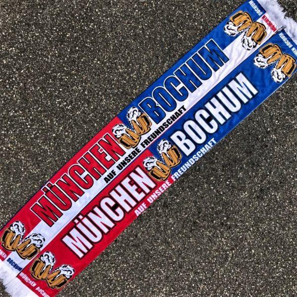 """Seidenschal-München-Bochum """"AUF UNSERE FREUNDSCHAFT""""""""AUF UNSERE FREUNDSCHAFT"""" München Bochum Fanfreundsachaft, Bayern Bochum Fanfreundschaft, Südkurve München Schal"""
