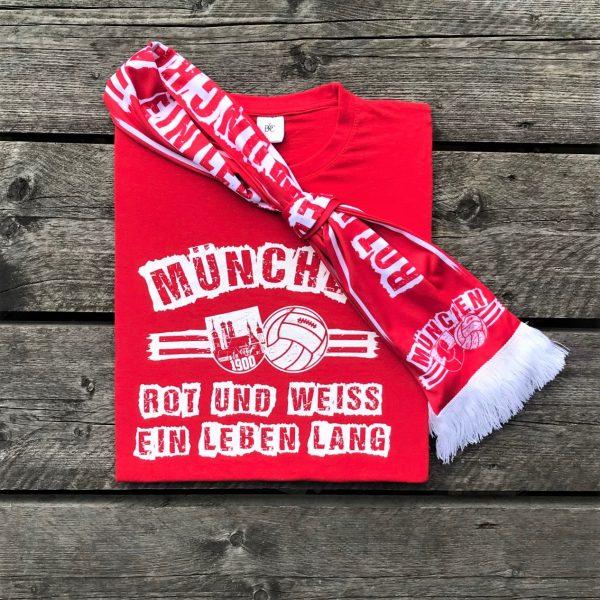 """Seidenschal+T-Shirt Kombination """"ROT UND WEISS EIN LEBEN LANG"""" Bayern München, Bayern München Schal, Südkurve München Schal, Südkurve München Shop, Bayern München Seidernschal"""
